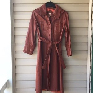1970's Vintage Ladies Leather Trench-coat